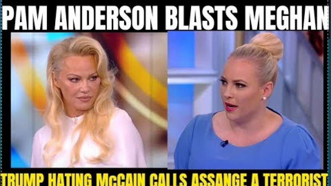 """Pam Anderson Blasts Meghan McCain on the View for calling Julian Assange, a """"cyber terrorist&qu"""