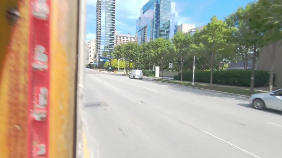 Empty Tram Traveling In The City